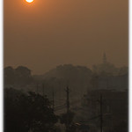 Sun rising throughh the smog over Singrauli